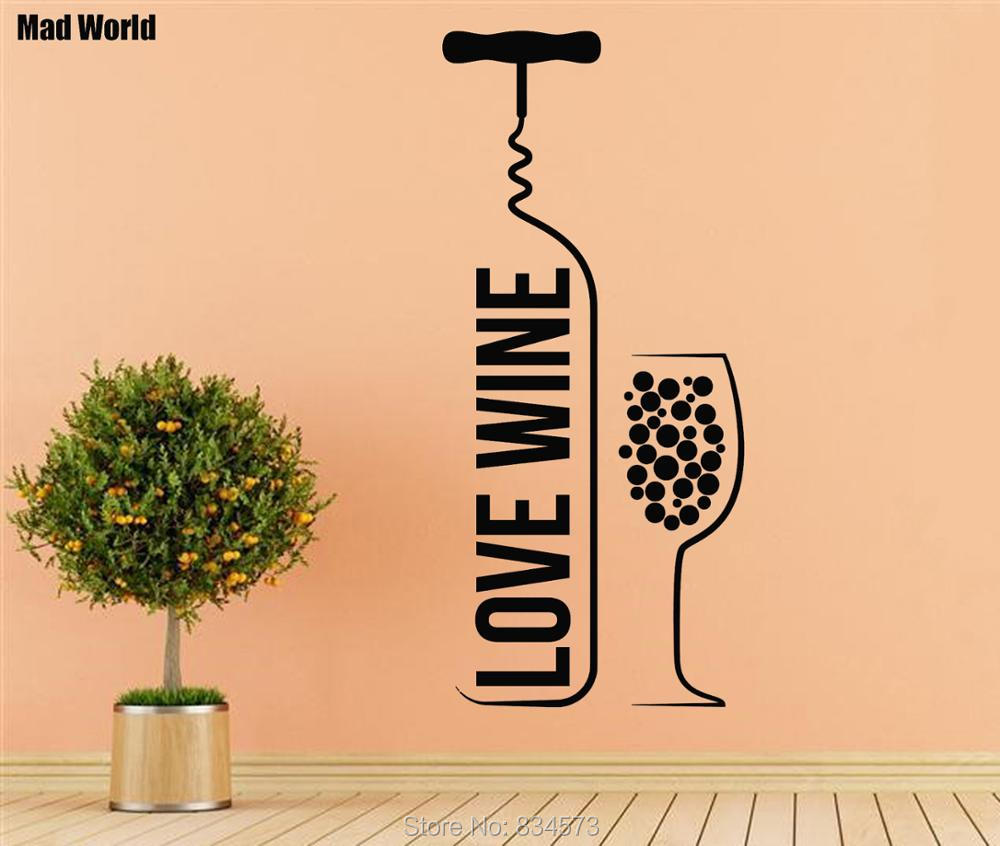 Mad World Love Wine Bottle Wine Glass Wall Art Stickers Decal Home ...