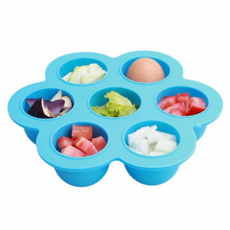 1p 7 díra silikonové dítě skladování potravin kontejner s víčkem Crisper Ice Lattice Box kryt deska Mrazák čerstvé Keeper zachování  t