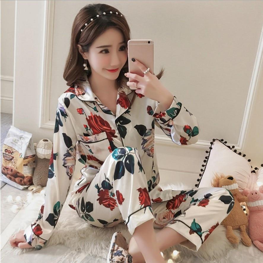 Fashion print satins silk   pajamas     sets   women Korea sexy robes 2-piece suits women long floral shirts+pants womens Pyjamas   Set