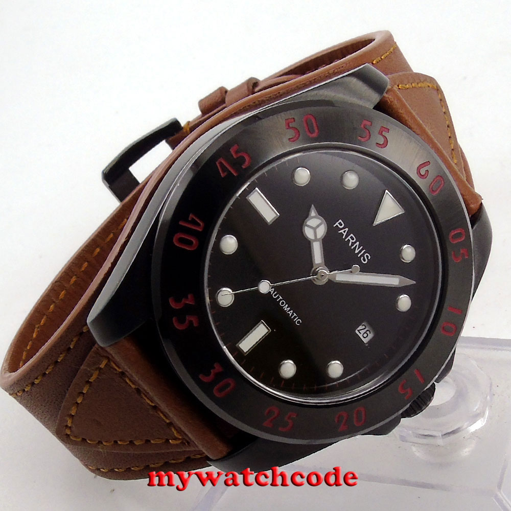 43mm Parnis black dial PVD case Sapphire Glass miyato Automatic mens Watch P391 цена и фото
