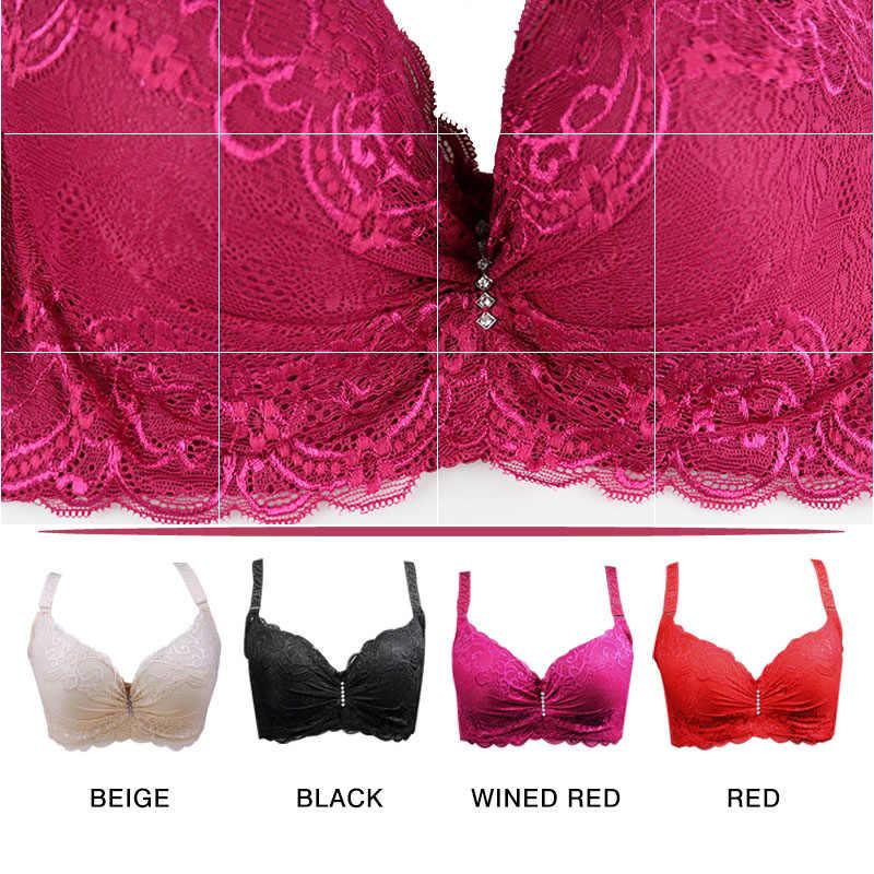 bf9e4289330cdd ... New Plus Size Bra Ultrathin Lace Bralette For Woman Racerback Push Up  Cotton Brassiere Underwire C D E ...