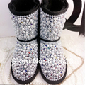 Free Shipping Handmade pearl Rhinestone sequins crystal baby girl's kid's bling Snow Boots children Boots warm Winter Shoes