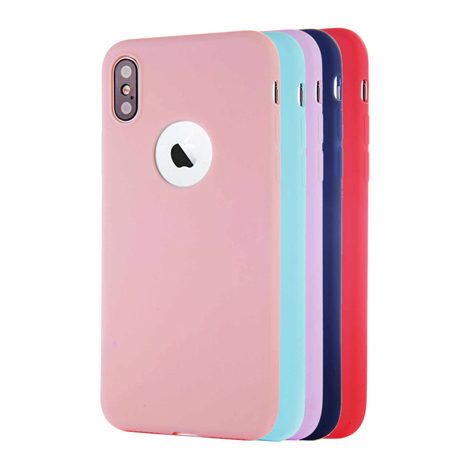 Candy Silicone Case for iPhone 6 s 6S iPhone 7 8 Plus iPhone X 10 5 5S SE 5SE 6Plus 6SPlus 7Plus 8Plus Cell Phone Cover