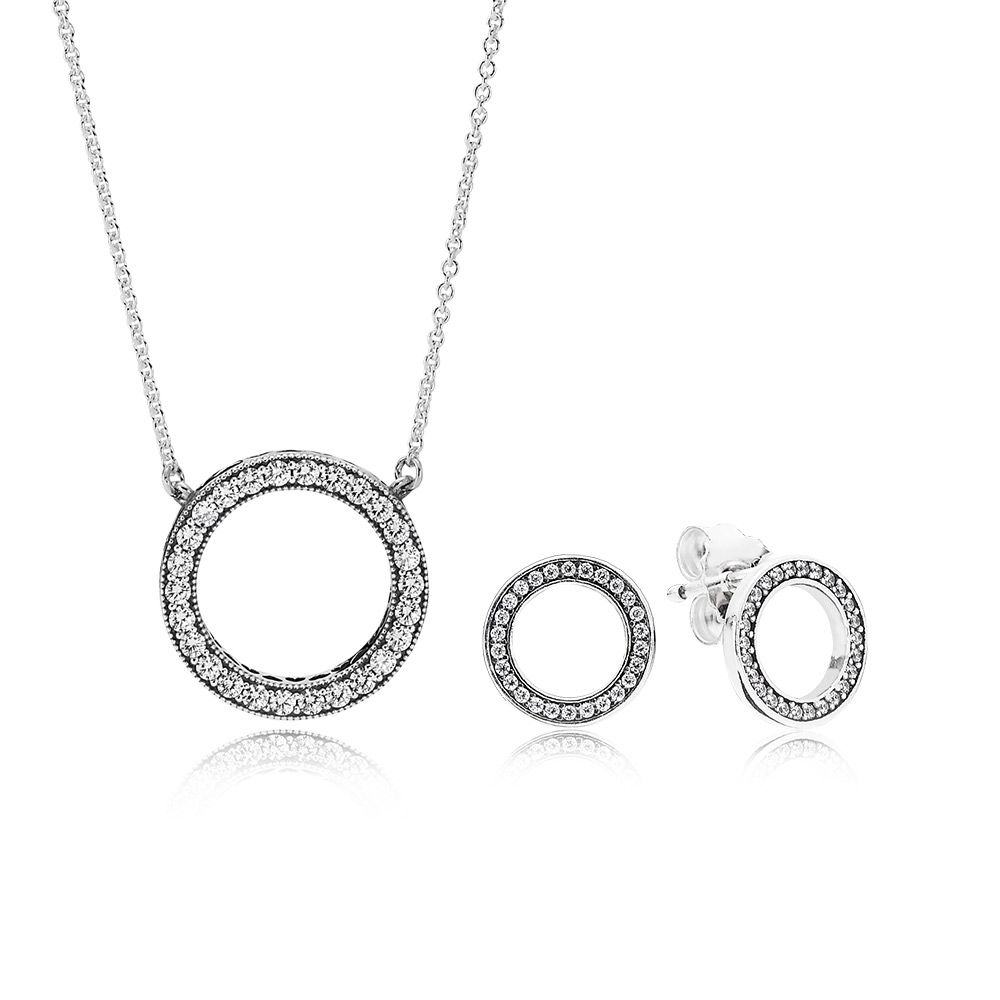 100% 925 sterling silver Forever Necklace And Earring Gift Set Original Clear CZ Fit Charms Diy Jewelry A Set Of Prices