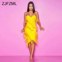 Tassels Spliced Elegant Sheath Dress Women Red Off The Shoulder Backless Bodycon Dress Summer Yellow Strapless Club Party Dress