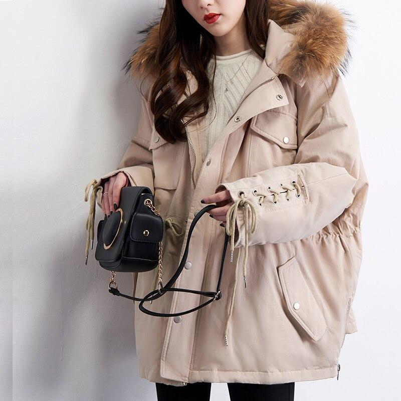 Women's Winter Jacket 2018 New Fashion White Duck Down Parka Women Winter Coat With Large Raccoon Fur Hooded Female Overcoat