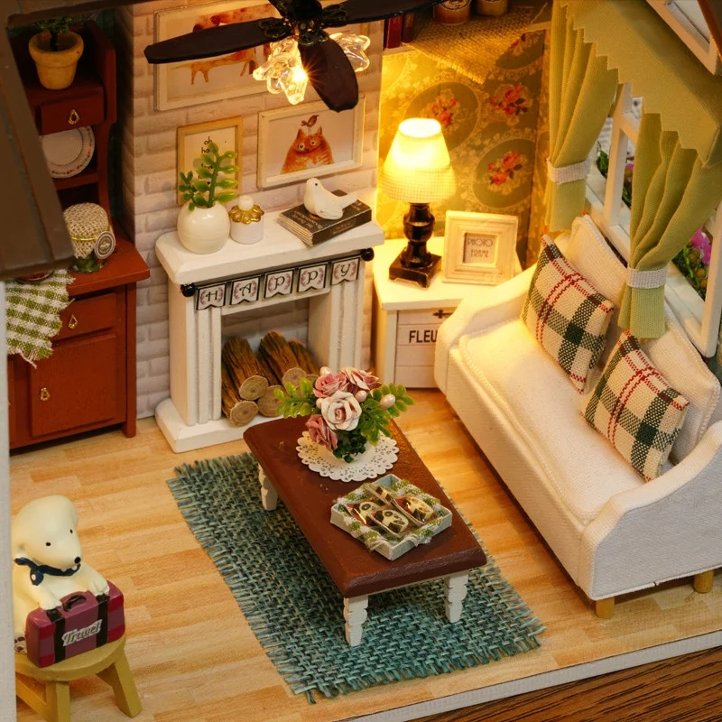 Aliexpress.com : Buy Good Years Living Room Scene Small DIY Wood Doll House  3D Miniature Dust Cover+Lights+Furnitures Homeu0026Store Decoration Adult Toy  From ... Part 85