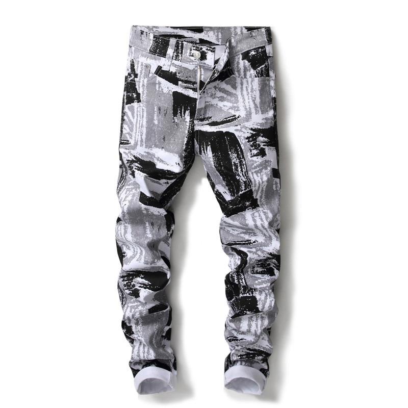 Nouveau élégant slim fit skinny stretch noir gris crayon pantalon punk hip hop imprimé jeans hommes discothèque streetwear graffiti adolescent