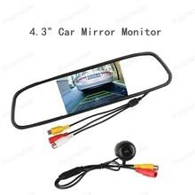 4.3 inch TFT color Mirror car rearview Monitor LCD display 2AV input reversing Camera +160 Degree Angle Rear View Camera