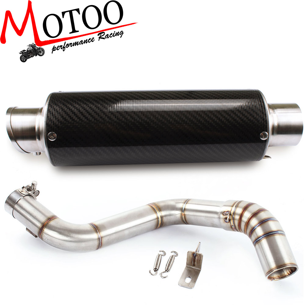 Motoo - Motorcycle Exhaust middle pipe + Muffler for KTM DUKE150 DUKE200 DUKE250 DUKE390 2012-2014 Slip-On motorcycle stainless slip on exhaust mid pipe for ktm 390 duke 2013 2014 2015 2016