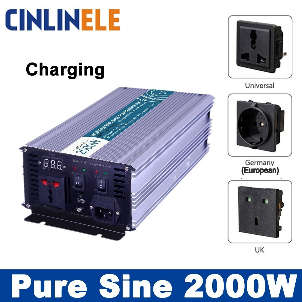 Smart Inverters Charging 2000W Pure Sine Wave Inverters CLP2000A DC 12V 24V 48V to AC 110V 220V 2000W Surge Power 4000W