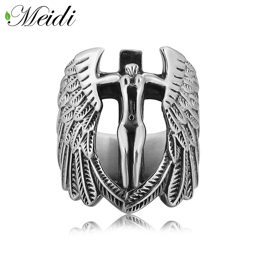 MEIDI High Quality Titanium Steel Finger Ring for Men Cross Jesus Wings Ring Religious Anel Masculino Wedding Accessories SP1014