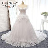 Rose Moda Sang Trọng Lông Bóng Gown Tắt Shoulder Feather Wedding Dress 3D Hoa Công Chúa Wedding Dresses
