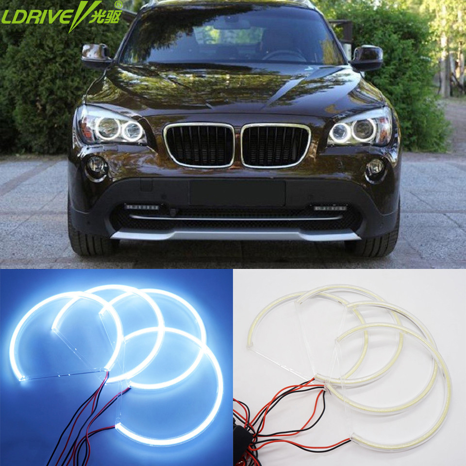 Hot 4PCS/lot Super Brightness Waterproof Auto Headlight Car Styling DRL COB LED Angel Eyes Halo Ring For BMW E36/38/39/43/46 maison jules new red women s size xs striped shimmer tie back blouse $49 091