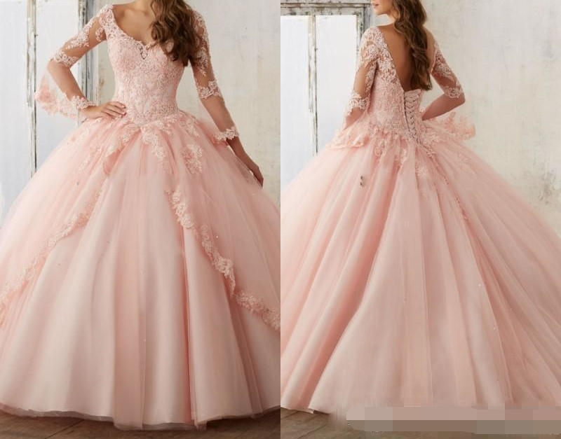 Baby Pink Quinceanera Dresses 2019 Lace Long Sleeve V Neck