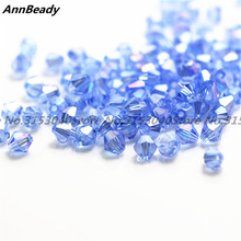 720pcs Light Blue AB Color 3mm Bicone Austria Crystal Beads Glass Beads Loose Spacer Beads DIY Jewelry Making Crystal Beads