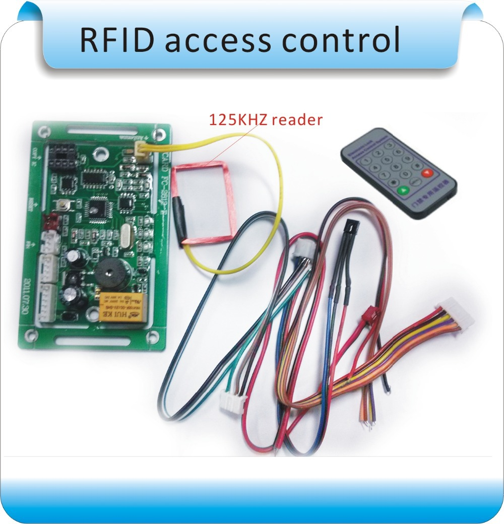 Free shipping 125KHZ RIFD embedded entrance guard controller, access control board, remote registered users+10pcs ID card aluminum metal shell waterproof rfid125khz entrance guard system admin card remote control register delete user card