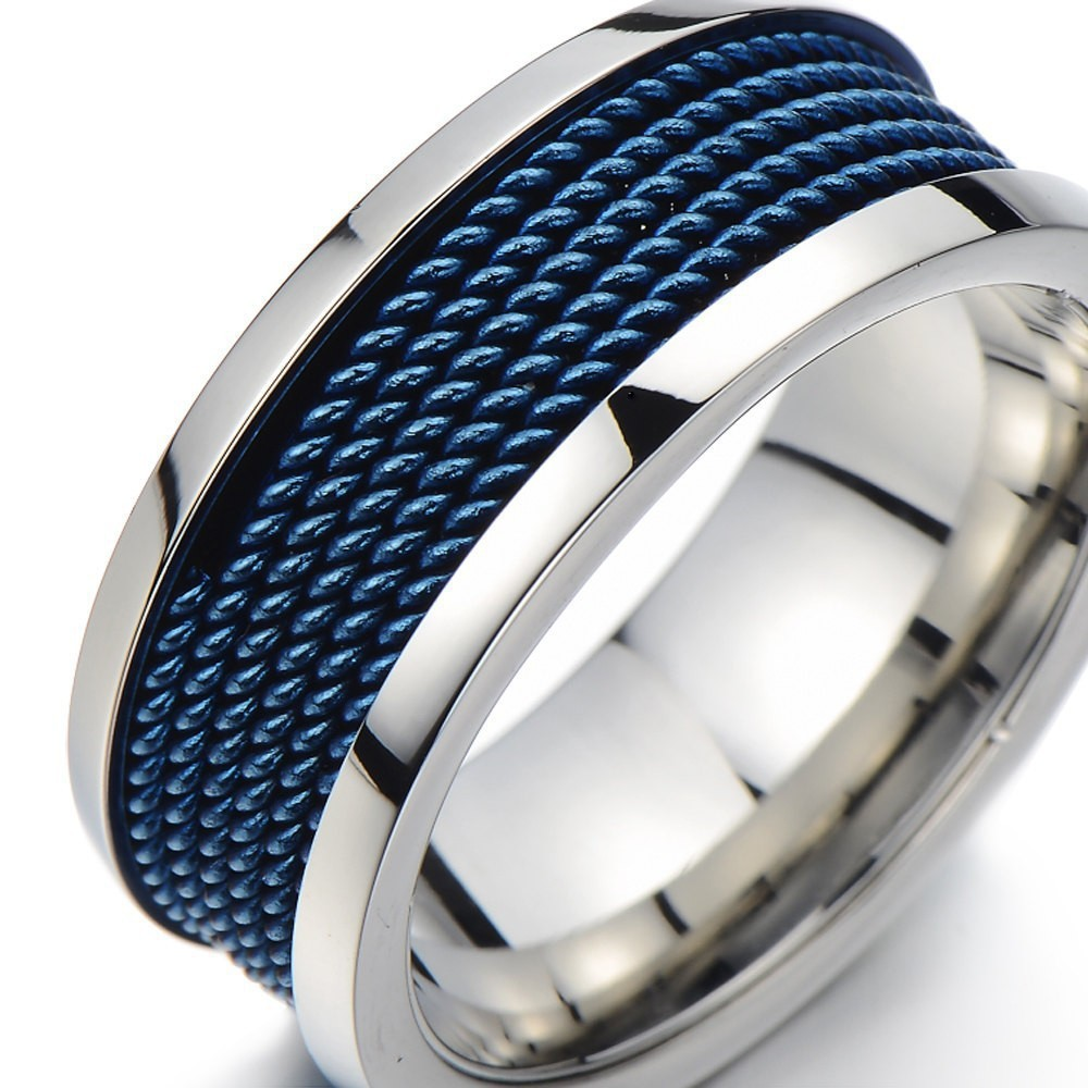 cool high an steel item in fashion from for blue inlay hot with men gift mesh stainless rings anniversary design excellent boyfriend jewelry