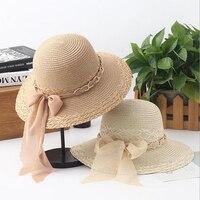 2017 hot big brim sun kapelusze dla kobiet składany kolorowe kamienia hand made cień kapelusz letni kapelusz słomkowy kapelusz kobiece dorywczo plaży cap