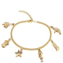 Elegante Mode Goud Vrouwen Masonic Vrijmetselaar Sieraden Oes Bedels Armbanden Enkel Volgorde Van Eastern Star Charmes Vrouwen Armband