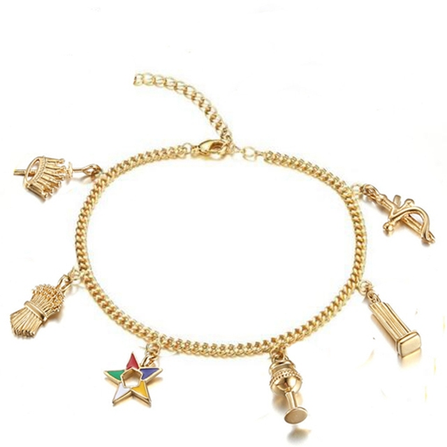 Elegant Fashion Gold Women Masonic Freemason Jewelry Oes Charms Bracelets Ankle Order Of Eastern Star