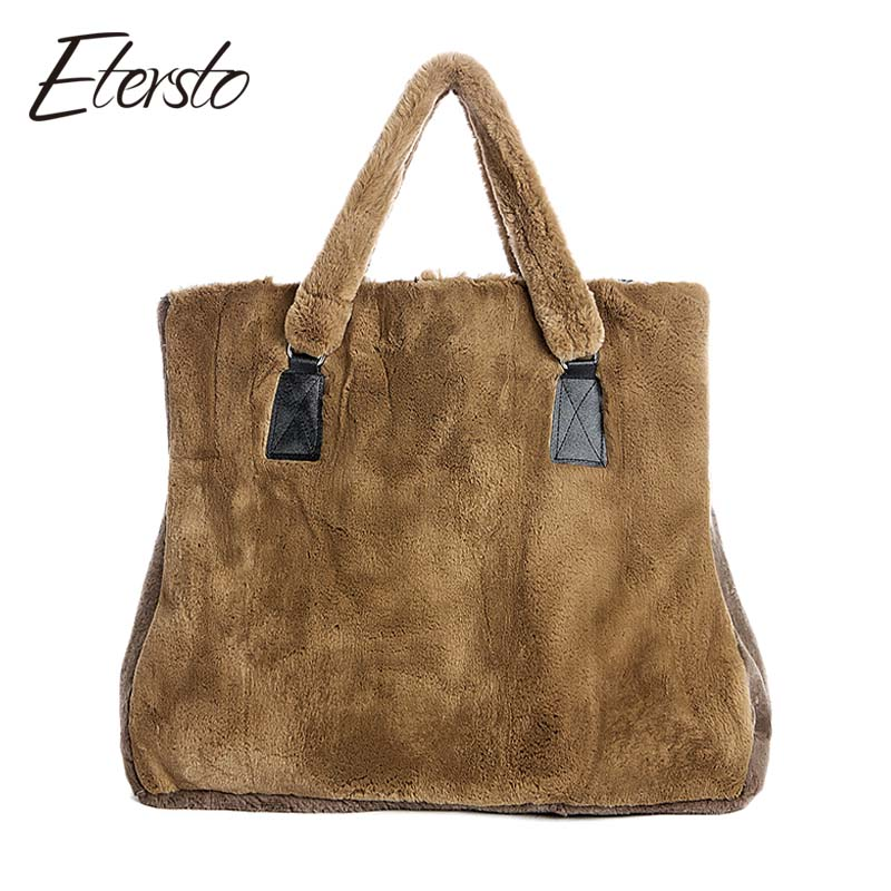 Etersto 2017 New Arrival Real Rex Rabbit Fur Handbags Women Real Fur Bags Female Fur Handbag Ladies Real Fur Crossbody Bags etersto 2017 new arrival women real mink fur handbag luxry real fur bag flap bags ladies crossbody bags female bags for lady