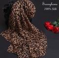 100 Silk Chiffon Women Brown Print Leopard Scarf  Luxury Brand Foulard Femme Musulman Hijab Sciarpe Donna Cachecol Inverno Shawl