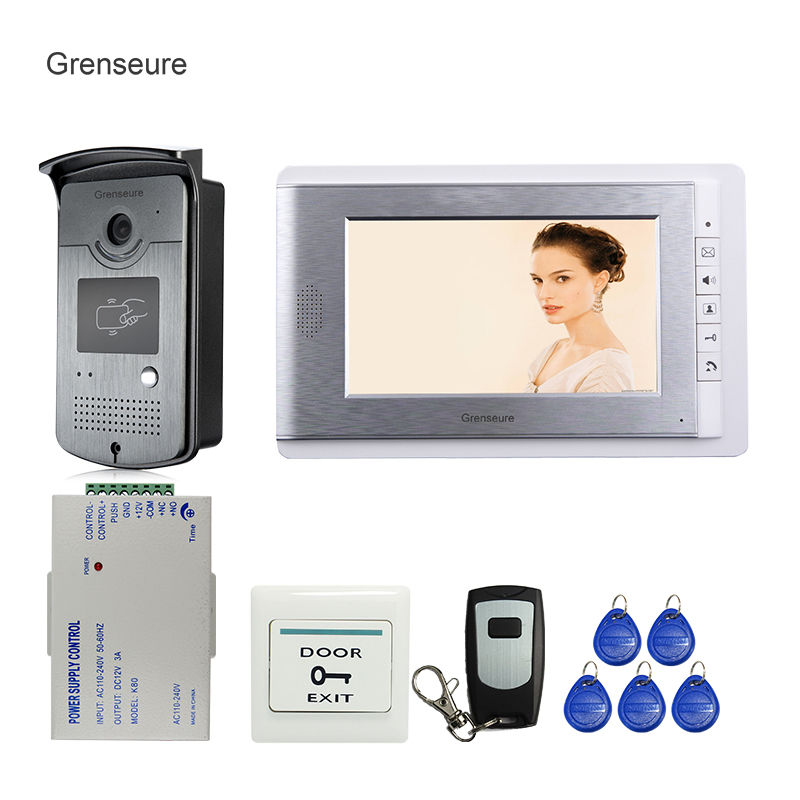 FREE SHIPPING New Wired 7 inch Color Screen Video Door Phone Intercom System + 1 Monitor + RFID Access Outdoor Camera In Stock