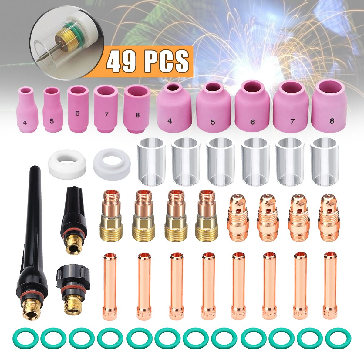49pcs/set TIG Welding Torch Stubby Tig Gas Lens #10 Pyrex Glass Cup Kit For WP-17/18/26 Mayitr Welding Accessories New Arrival