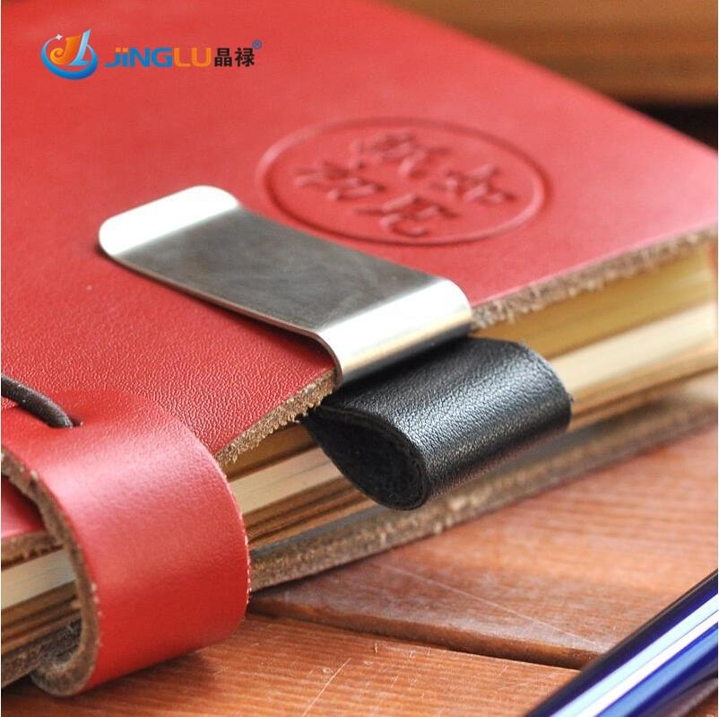 Personalized Customized Leather Steel Pen Holder Clip Notebook Paper Folder Gift