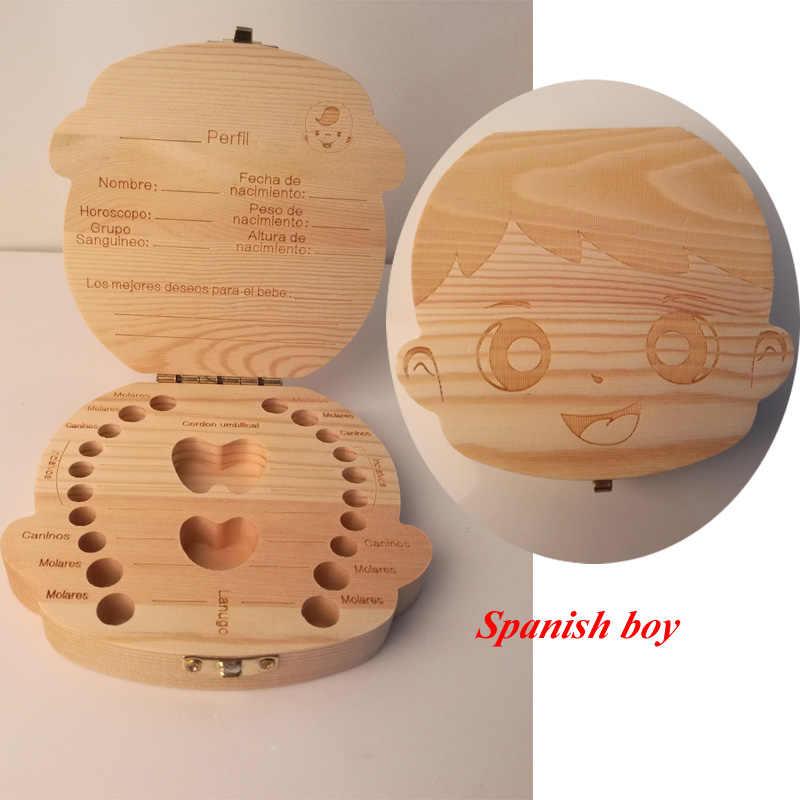Hiszpania języka angielskiego drewna zębów Box organizator zapisz zęby mleczne do przechowywania drewna zbieranie zęby prezenty pępowina Lanugo