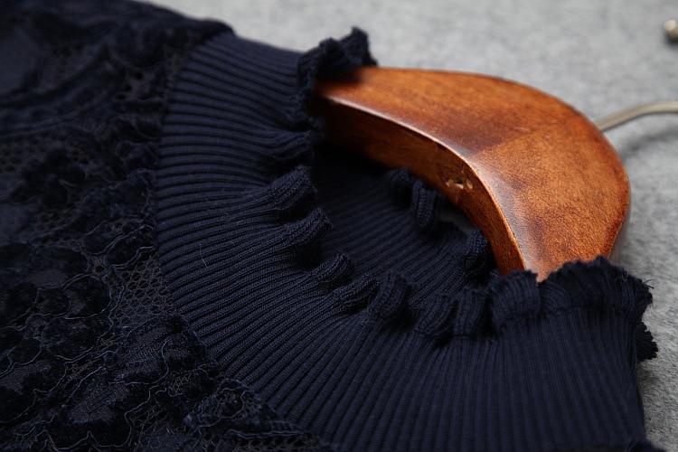 Nouveau black Manches Col Robe Longues Bleu Femmes Élégant Roulé Gilet 2018 Automne Patchwork Dentelle Blue Tops Ensemble Pièces À Géométrique Deux Noir k0PO8nw