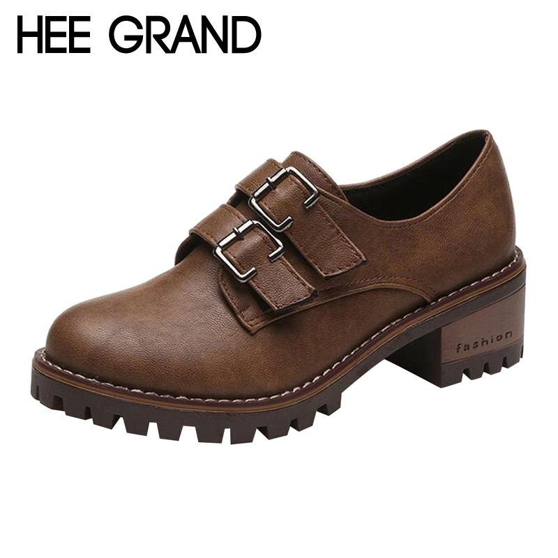 HEE GRAND Retro Style with Buckle Women Oxford Medium Heel Pumps Woman Oxfords Casual Shoes Fashion Boots Women  XWD6176 2017 autumn women natural leather famous ankle oxford shoes european fashion woman retro oxfords with buckles female luxury