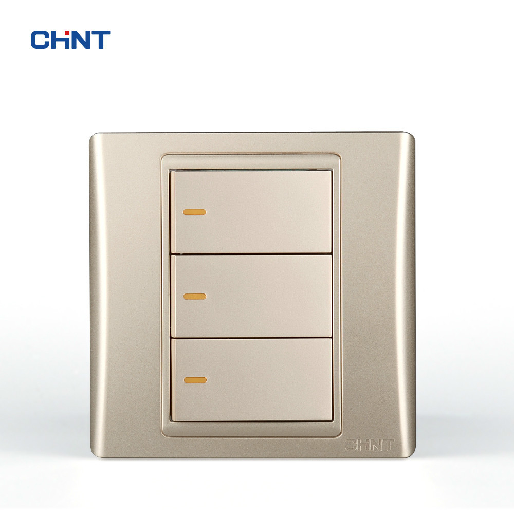 CHINT Wall Switches 120 Type 86 Type 9L Steel Frame 3 Switch Wall Plate Golden Three Gang Two Way new a8 3 three frame a8 function of supporting frame 86 outlet switch combination surface box