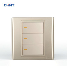 CHINT Wall Switches 120 Type 86 Type 9L Steel Frame 3 Switch Wall Plate Golden Three Gang Two Way chint lighting switches 118 type switch panel new5d steel frame four position six gang two way switch panel