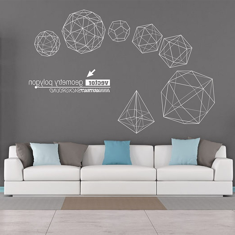 Geometric wall stickers three-dimensional Large-scale Living room background Office decoration art Home Decoration stickers