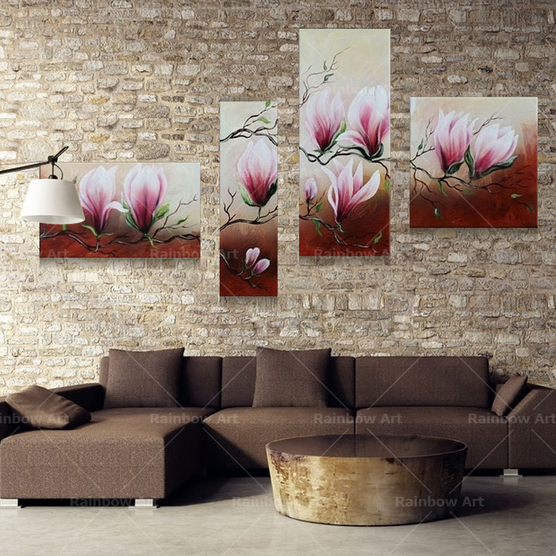 ᗑ4 unidades flores hechas a mano paisaje cuadros pinturas al óleo ...