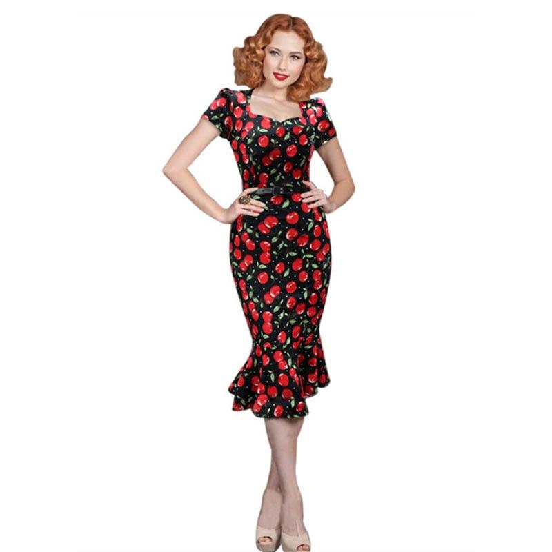 fashion audrey hepburn vintage dress cherry print 50s robe rockabilly 60s retro mermaid dresses. Black Bedroom Furniture Sets. Home Design Ideas
