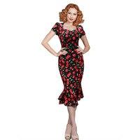 Fashion Audrey Hepburn Vintage Dress Cherry Print 50s Robe Rockabilly 60s Retro Mermaid Dresses Robe De