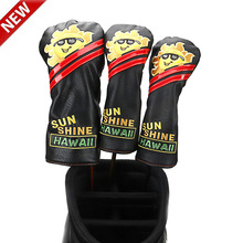 цена 2019 NEW Smiling Sun Golf driver Headcover PU Dustproof  NO3 NO5 Golf Fairway Woods Head Covers онлайн в 2017 году