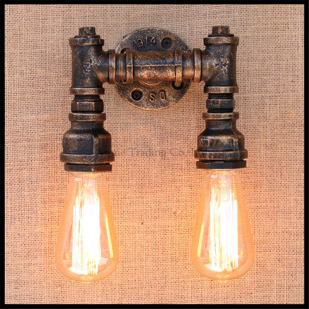 2 Heads Water Pipe Steampunk Vintage Wall Lights For Dining Room Bar Home Decoration American Industrial Loft Wall Sconce