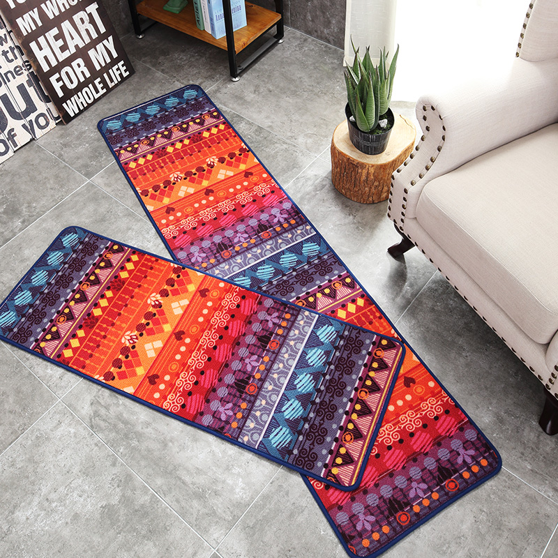 Style européen multicolore luxe géométrique bande dessinée Rectangle tapis antidérapant lavable Durable zone tapis pour salon/chambre