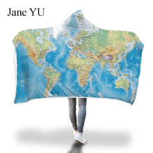 JaneYU Explosive hooded blanket cloak magic hat thickened with double plush 3D digital printed map series decoration