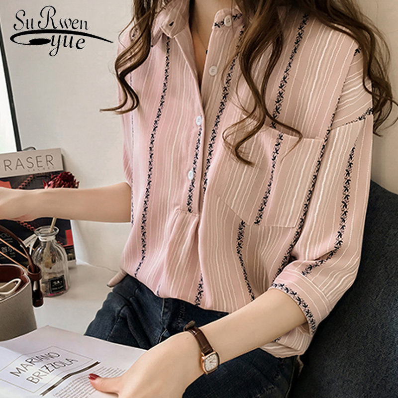 women's tops and   blouses   2018 loose large-size female striped   shirt   women fashion   blouse     shirt   plus size feminine tops 1179 40