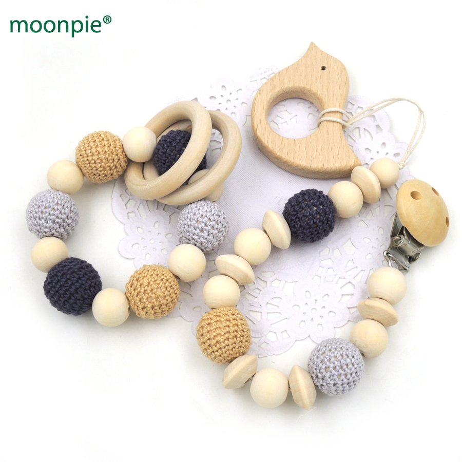 Hot Sale Natural Pacifier Clip Dummy Holder Safe Wooden Crochet Beads Shade Of Grey Tone Beech Car Teether Set Baby Boy Gift Box Nt172 Mother & Kids