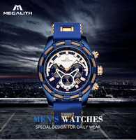 MEGALITH 2019Luxury Sport Quartz Men Watch Alloy Clock Waterproof Rubber Chronograph Timer Watch Black WristWatch RelóGio Homens