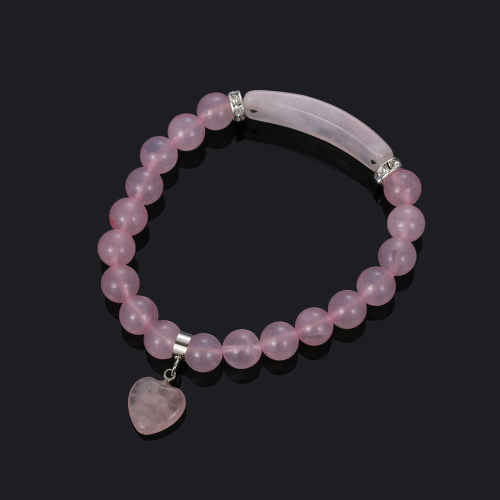 خط القلب تركيب شفاء الخرز أساور الطبيعي جوهرة الحجر أساور مستطيل الحجارة للنساء اليدوية مجوهرات