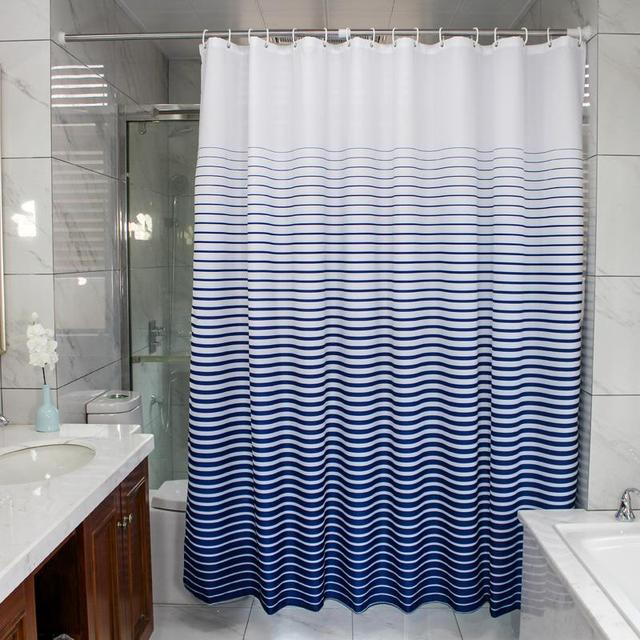 Modern Home Waterproof Shower Curtain Blue Striped Eco Friendly Shower  Curtains Polyester Curtain For The