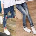 2017 весна детская одежда девушки джинсы причинным тонкий синий джинсовый девочка джинсы для девочек большие дети джинсы длинные брюки
