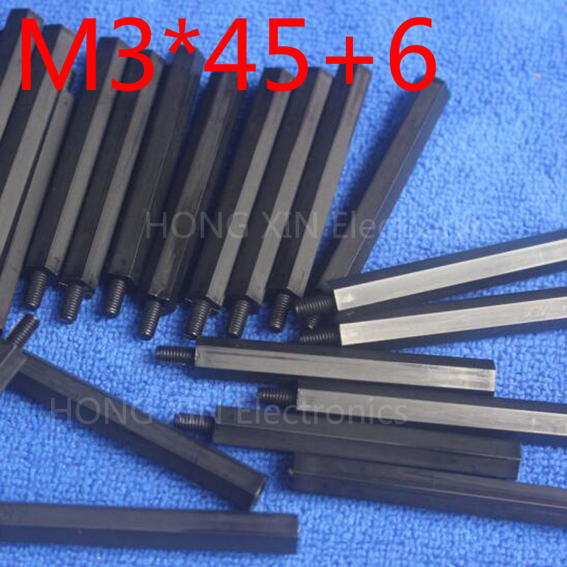 <font><b>M3</b></font>*45+6 Black Nylon Standoff Spacer Standard <font><b>M3</b></font> Male-Female <font><b>45mm</b></font> Standoff Kit Repair Set 1 pcs image